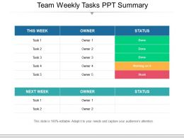 Team Weekly Tasks Ppt Summary