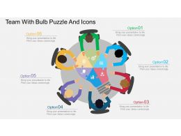 Team With Bulb Puzzle And Icons Flat Powerpoint Design