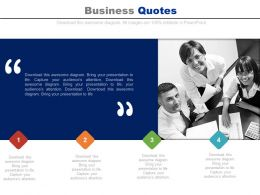 Team With Business Quotes And Four Tags Powerpoint Slides