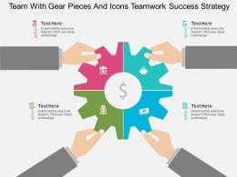 Team With Gear Pieces And Icons Teamwork Success Strategy Flat Powerpoint Design
