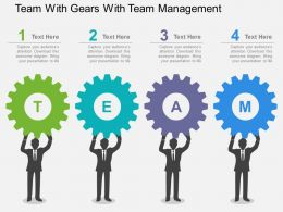 Team With Gears With Team Management Flat Powerpoint Design