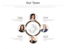 Team With Globe For Business Communication Powerpoint Slides