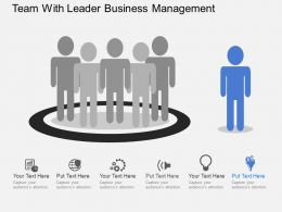 Team With Leader Business Management Flat Powerpoint Design