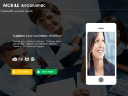 Team With Mobile Infographics For Marketing Powerpoint Slides