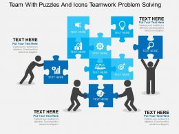 Team With Puzzles And Icons Teamwork Problem Solving Flat Powerpoint Design