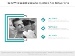 Team With Social Media Connection And Networking Powerpoint Slides