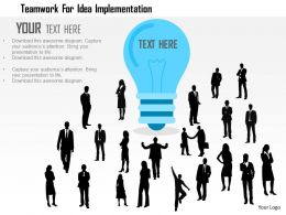 Teamwork For Idea Implementation Flat Powerpoint Design