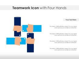 Teamwork Icon With Four Hands