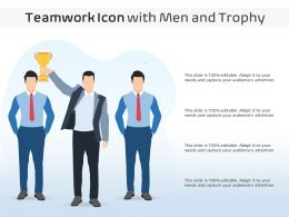 Teamwork Icon With Men And Trophy