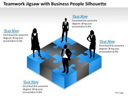 Teamwork Jigsaw With Business People Silhouette Powerpoint Template Slide