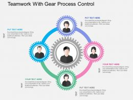 Teamwork With Gear Process Control Flat Powerpoint Design