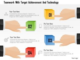 Teamwork With Target Achievement And Technology Powerpoint Template