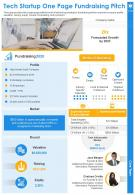 Tech Startup One Page Fundraising Pitch Presentation Report Infographic PPT PDF Document