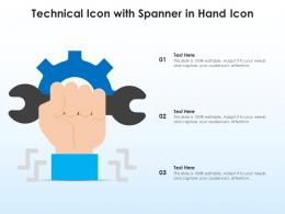 Technical Icon With Spanner In Hand Icon
