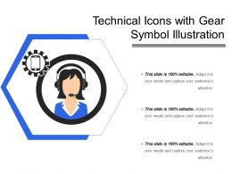 Technical Icons With Gear Symbol Illustration