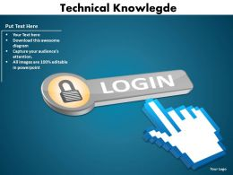 technical knowlegde fingers pressing the login button with lock powerpoint diagram templates graphics 712