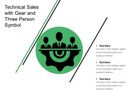 Technical Sales With Gear And Three Person Symbol