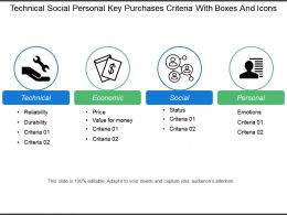 Technical Social Personal Key Purchases Criteria With Boxes And Icons