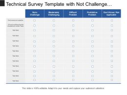 Technical Survey Template With Not Challenge And Difficult Problem