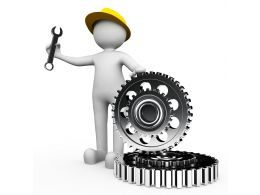 Technician With Gear And Wrench For Service Stock Photo