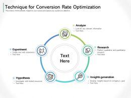 Technique For Conversion Rate Optimization
