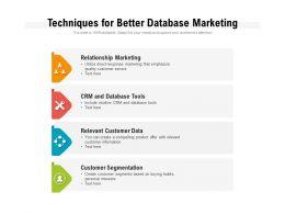 Techniques For Better Database Marketing