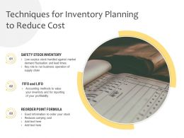 Techniques For Inventory Planning To Reduce Cost