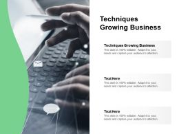 Techniques Growing Business Ppt Powerpoint Presentation Show Information Cpb