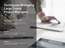 Techniques Managing Large Teams Project Managers Ppt Powerpoint Presentation Styles Cpb
