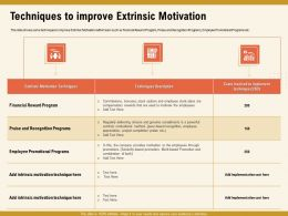 Techniques To Improve Extrinsic Motivation Intrinsic Ppt Powerpoint Presentation Icon Files