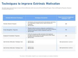 Techniques To Improve Extrinsic Motivation M1954 Ppt Powerpoint Presentation Summary Slide
