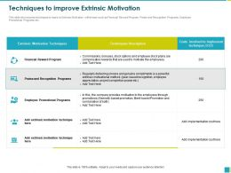 Techniques To Improve Extrinsic Motivation Seniority Ppt Powerpoint Presentation File Influencers