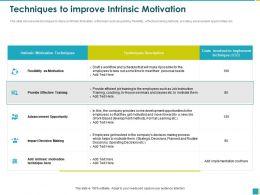 Techniques To Improve Intrinsic Motivation Efficient Ppt Powerpoint Presentation File Picture