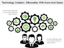 Technology Creation Silhouettes With Icons And Gears