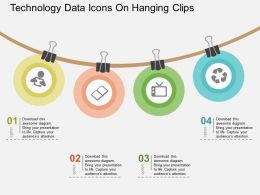 Technology Data Icons On Hanging Clips Flat Powerpoint Design