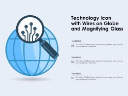 Technology Icon With Wires On Globe And Magnifying Glass
