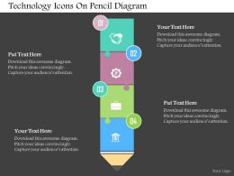 Technology Icons On Pencil Diagram Flat Powerpoint Design