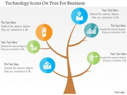 Technology Icons On Tree For Business Flat Powerpoint Design