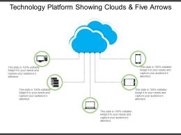 Technology Platform Showing Clouds And Five Arrows