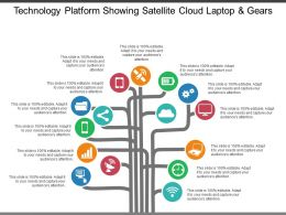 Technology Platform Showing Satellite Cloud Laptop And Gears