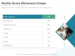 Technology Service Provider Solutions Monthly Service Maintenance Charges Ppt Designs