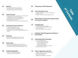 Technology Service Provider Solutions Table Of Contents Ppt Graphics