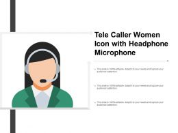 Tele Caller Woman Icon With Headphone Microsoft