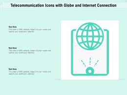 Telecommunication Icons With Globe And Internet Connection