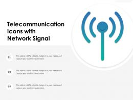 Telecommunication Icons With Network Signal