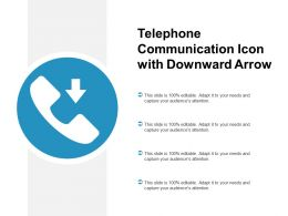 Telephone Communication Icon With Downward Arrow