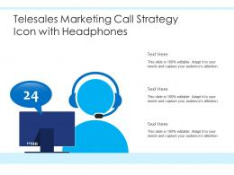 Telesales Marketing Call Strategy Icon With Headphones
