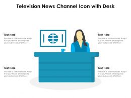Television News Channel Icon With Desk