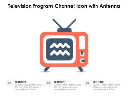 Television Program Channel Icon With Antenna