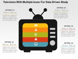 Television With Multiple Icons For Data Driven Study Powerpoint Slides